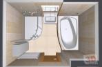 3D návrh koupelny shora