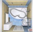 Návrh panelákové koupelny. Obklad La Futura Rexona blue