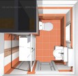 3D návrh koupelny v panelovém bytě - obklad Viveza