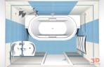3D návrh luxusní koupelny s hydromasážní vanou
