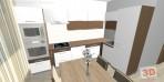 návrh kuchyně v panelovém bytě bílá a hnědá