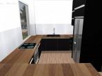 3D návrh černé kuchyně