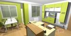 3D návrh obývacího pokoje v barvě pistácie