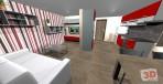 3D návrh obývacího pokoje + kuchyňský kout