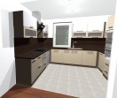 3D návrh kuchyně barvy bílá káva + bílá