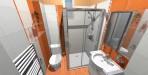 Koupelna RAKO obklad India bílá + oranžová