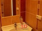 Fotogalerie koupelny -Koupelna Litera béžová a tmavě hněda, vlepené zrcadlo