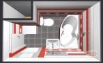 Paneláková koupelna - 3D návrh