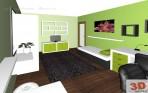 ložnice zelená - 3D návrh