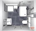 3D návrh malé koupelny se sprchovým koutem