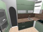 3D návrh  kuchyně zelená